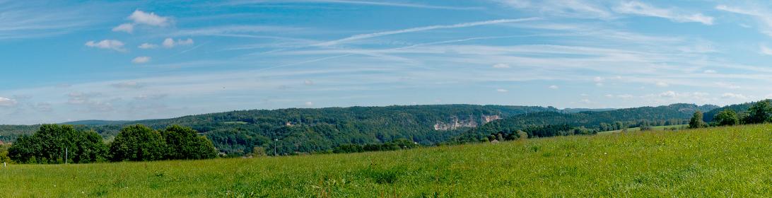 Blick auf eine grüne Wiese und einen blauen Himmel oberhalb von der Elbe